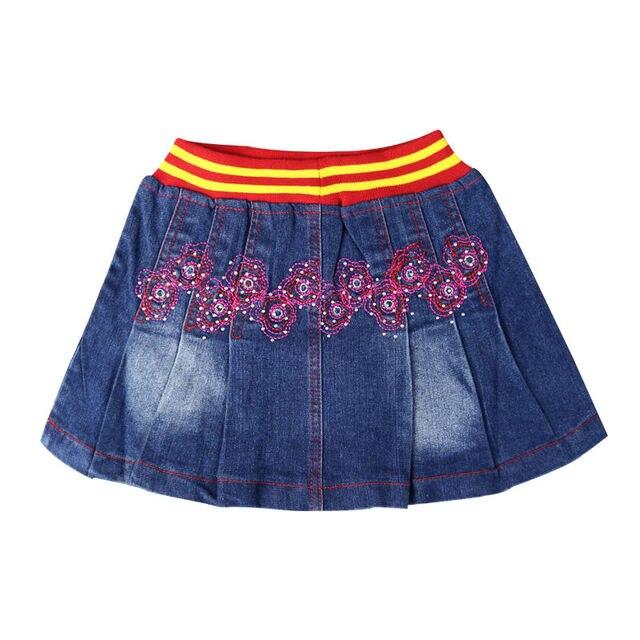 Девушки вышивка Цветочный Узор Повседневная A-Line Ruched хлопок мини-юбки, Джинсы со стразами малыша девушка wearings XML-A25083