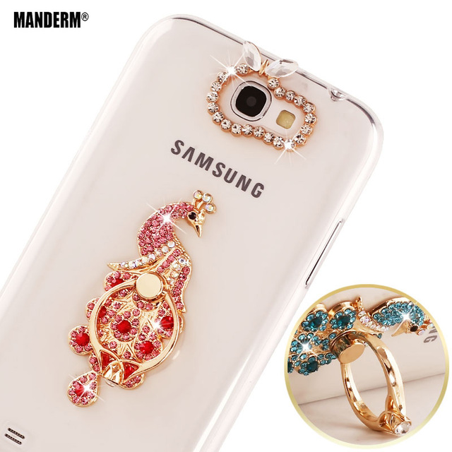 New Diamond transparent silicone Case cover For Samsung Galaxy Note 2 GT-N7100 N7100 N7102 Case 3D Rhinestone Ring Holder cases