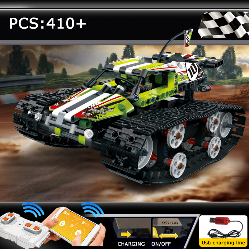 RC Technic Track Remote Control Race Car Assembly Electric Off-road Vehicle Model Building Blocks Technology Toys Children Gift