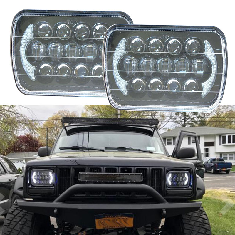 105W 7x6 5x7 LED Rectangle Headlights for Jeep Wrangler YJ Cherokee XJ H6054 H5054 H6054LL 69822 6052 6053 Angel Eyes DRL 5 x7 6 x7 high low beam led headlights for jeep wrangler yj cherokee xj h6054 h5054 h6054ll 69822 6052 6053 with angel eye