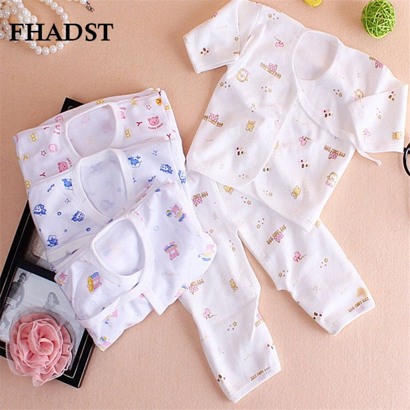 FHADST 0-1 Year Autumn Winter Baby Set Romper Underwear Cotton Coat And Pants Baby Cloth For Newborns Clothes For Baby Boy Girls
