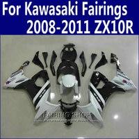 Abs Fairings For Kawasaki Ninja zx10r 2008 2009 2010 2011 08 09 10 11 White black Fairing kit +Customize free n10