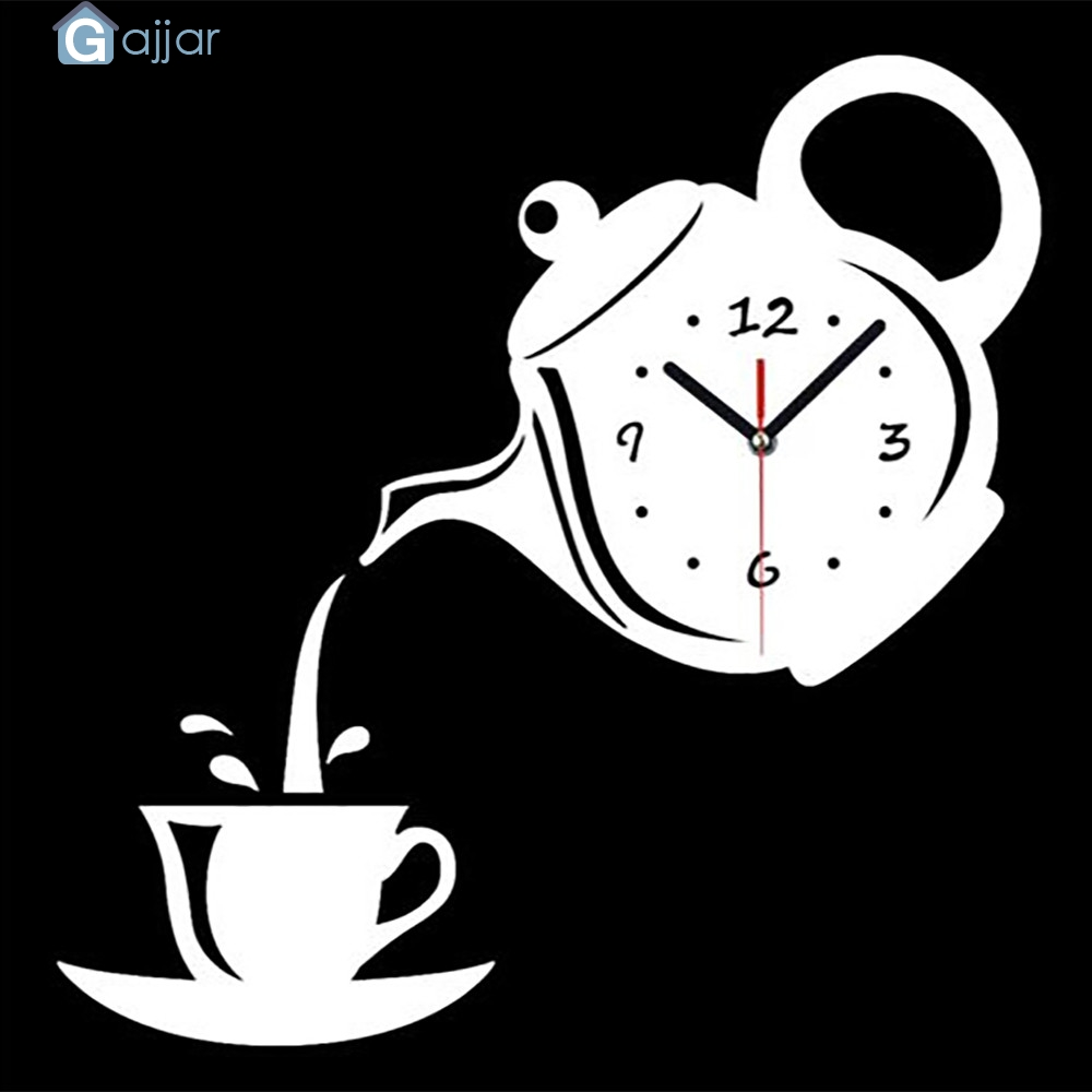 Us 5 44 55 Off 2019 Hot Teapot Clock Wall Mirror Effect Coffee Cup Shape Decoration Home Decor Kitchen Dropshipping Feb21 In Clocks From