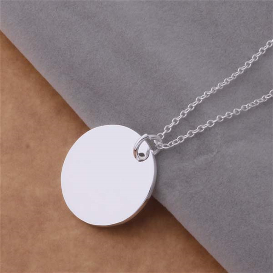 New high quality silver plated jewelry fashion trend women smooth round pendant necklace package mail AN691 Kinsle