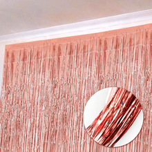 1*3M Blue Pink Rose Gold Shimmering Foil Fringe Tinsel Door Curtain Wedding Birthday Party Decoration Photo Backdrop Supplies