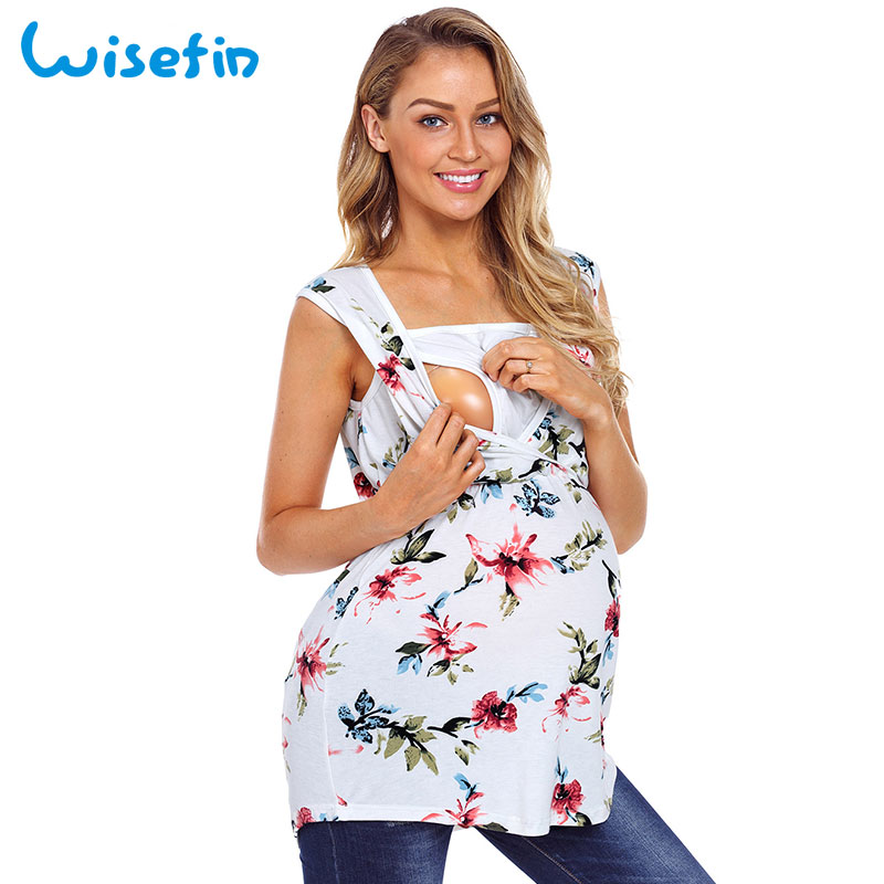 Wisefin Floral Sleeveless Nursing Top Cotton Summer Maternity Breastfeeding Clothes Long Nursing Clothes For Pregnant Women 2018 gathered neck floral sleeveless top
