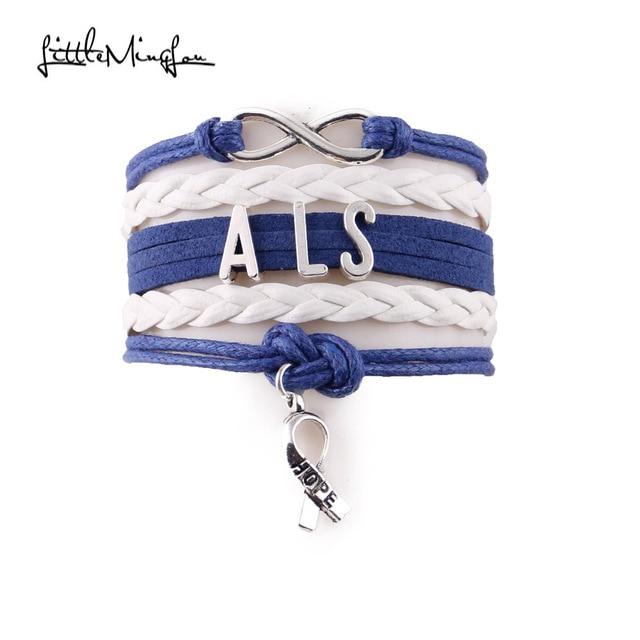 Little Minglou Infinity Hope Als Bracelet Ribbon Charm Awareness Leather Wrap Men Bracelets Bangles