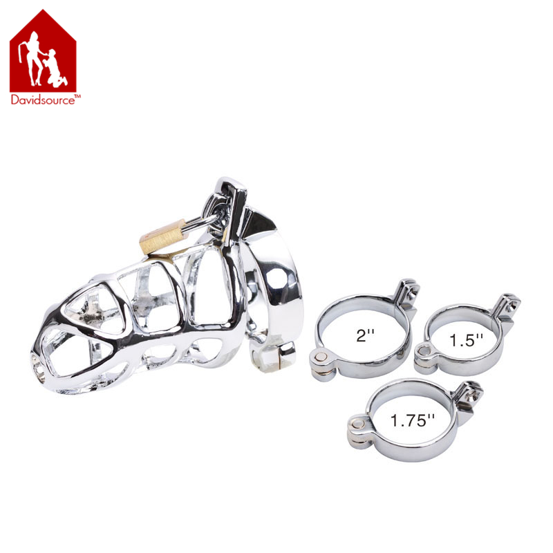 Davidsource 4Long 1.5Wide Stainless Steel Chastity Lock Hallow Cock Cage Virginity Lock Penis Bondage Fetish Men Sex Toy