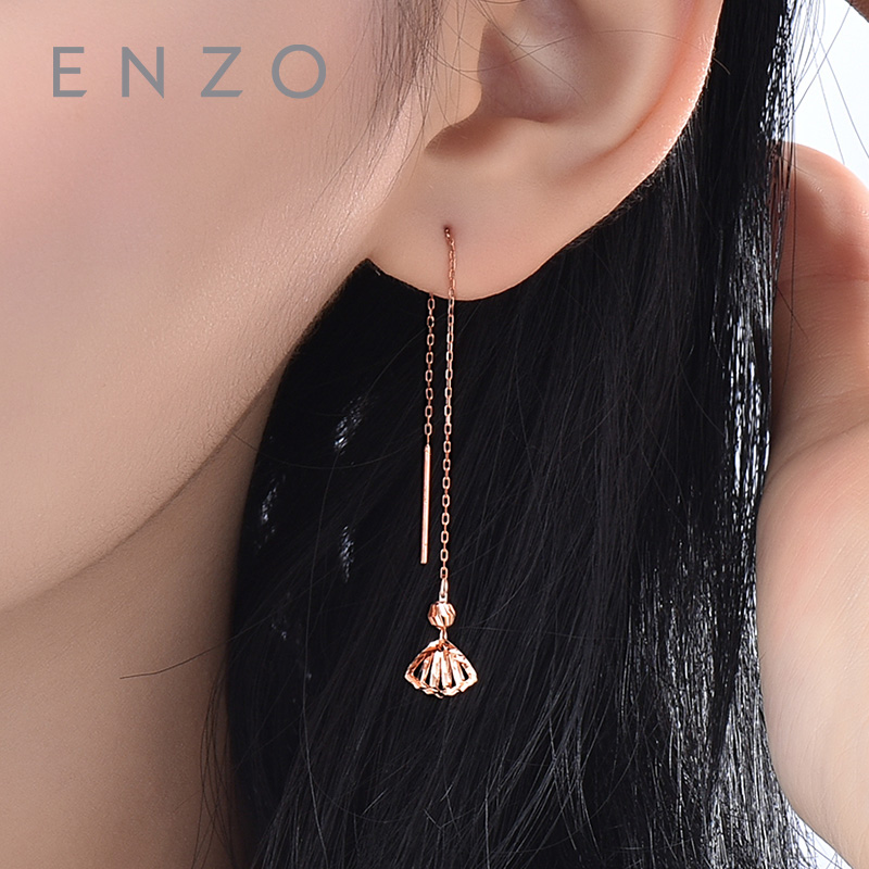 Real 18K Rose Gold Jewelry Round Earring Women Miss Girls Gift Party Female Ear Wire Drop Earrings Solid Hot Sale Good Classic real 18k gold jewelry heart earring women miss girls gift party female ear wire drop earrings solid hot sale new good trendy