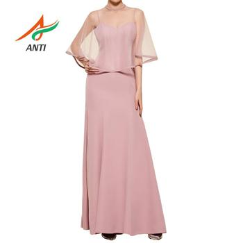 ANTI Cheap And Good Quanlity Robe De Soiree Mermaid Summer Pink Long Evening Dress With Jacket Spaghetti Strap Formal Party Gown