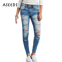 Vintage Holes Distressed Jeans Women Skinny Stretch High Wait Jeans 2017 Punk Cotton Pencil Denim Pants