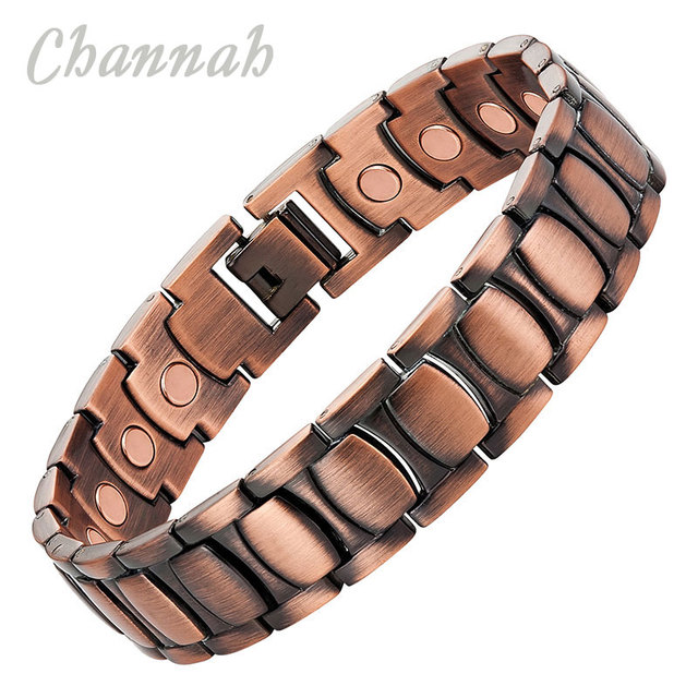 Channah 2017 Men 21pcs Magnets Copper Plating Bracelet Magnetic Powerful Bio Healing Bangle Jewelry Wristband Charm