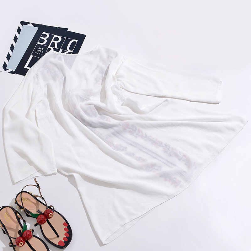 النساء التطريز تونك شاطئ التستر الأبيض ملابس السباحة اللباس بوهو الصيف البوهيمي الشاطئ اللباس لباس سباحة التستر بحر الإناث