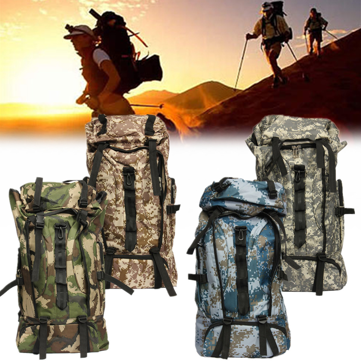 80L Nylon Outdoor Military Army Tactical Backpack Trekking Travel Sport Molle Bag Camouflage Rucksack Camping Hiking bags sinairsoft outdoor military tactical backpack trekking sport travel 25l nylon camping hiking trekking camouflage bag ly0062