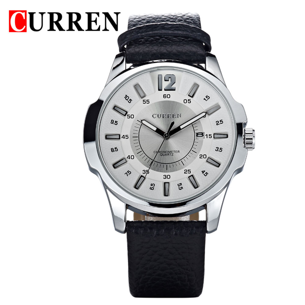 2018 New Brand <font><b>Curren</b></font> Men's Watch Date Clock Casual Quartz Watch Leather Wrist Sports Men Watches Military Army Relogio Male image