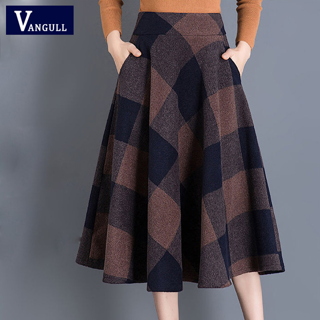 VANGULL Printed Plaid woolen Skirt 2019 Autumn new Plus Size High Waist Ball Gown Skirt Winter Casual Large swing Thick Skirts