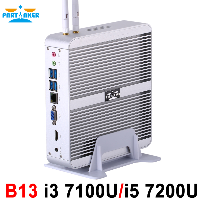 Partaker B13 Fanless Desktop Computer Mini PC I3 7100U I5 7200U Windows 10 Max 16G RAM 512G SSD 1TB HDD Free 300M WiFi 1.5M HDMI low heat mini computer x26 1037u network industrial fanless desktop 4g ram 512g ssd support wireless mouse keyboard 2 lan