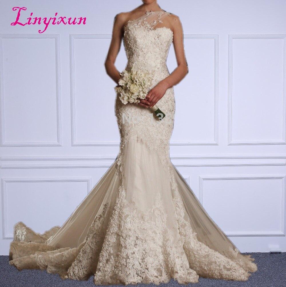 Linyixun Ivory Lace vestido de noiva Sweetheart One Shoulder Zipper Mermaid Wedding Dress 2018 New Arrival