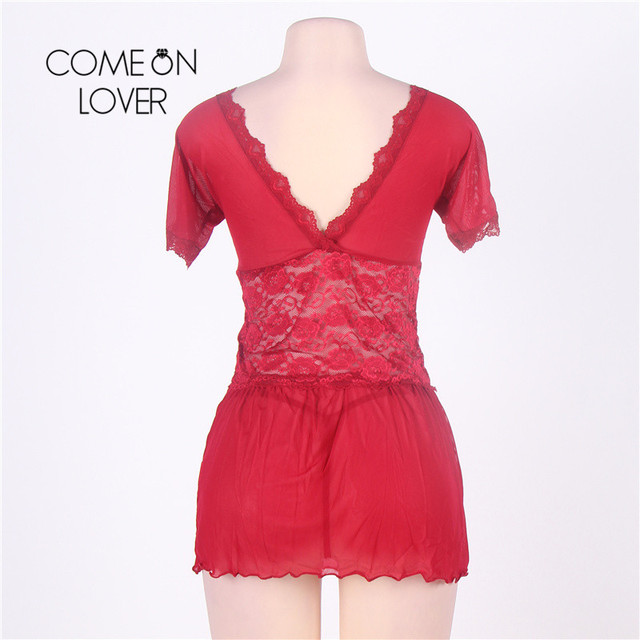 RI70335 Comeonlover Sexy Lingerie Lace Deep V Plus Size Lingerie Sleepwear V Back Langerie Sex Red Women Sexy Lingerie Babydoll 4