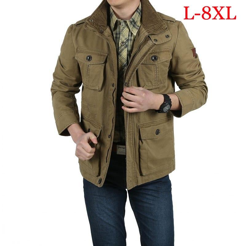 Erkek Kıyafeti'ten Ceketler'de Büyük boy L 8XL askeri ceket erkek obezite pamuk standı yaka mens dış giyim palto jaqueta masculina erkek ceket'da  Grup 1