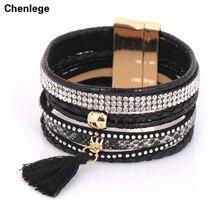 black leather bracelets crystal tassel women's lovely valentines bohemian free shipping boho vintage magnetic clasp bracelets