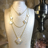 Brand Wedding Jewelry Set For Women Gold Color Necklace Big White Mother Shell Pearl Clover Leaf