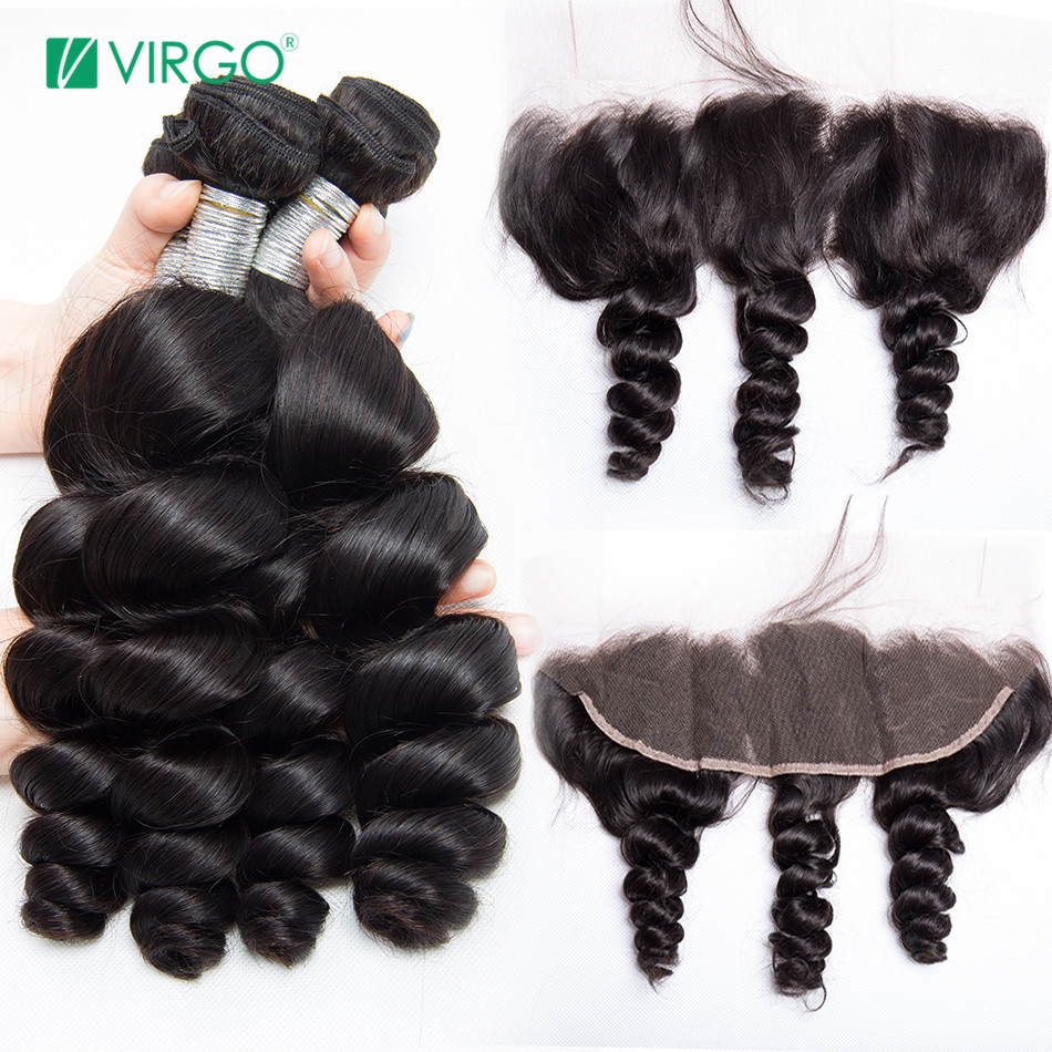 Brazilian Loose Wave Human Hair 4 Bundles with Lace Frontal Closure 13x4 Ear to Ear Pre Plucked Virgo Hair 100% Remy Hair 5PCS
