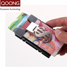 QOONG RFID Travel Card Wallet Men Women Business ID Credit Holder Fashion Brand Metal Aluminum Case with Bill Clip