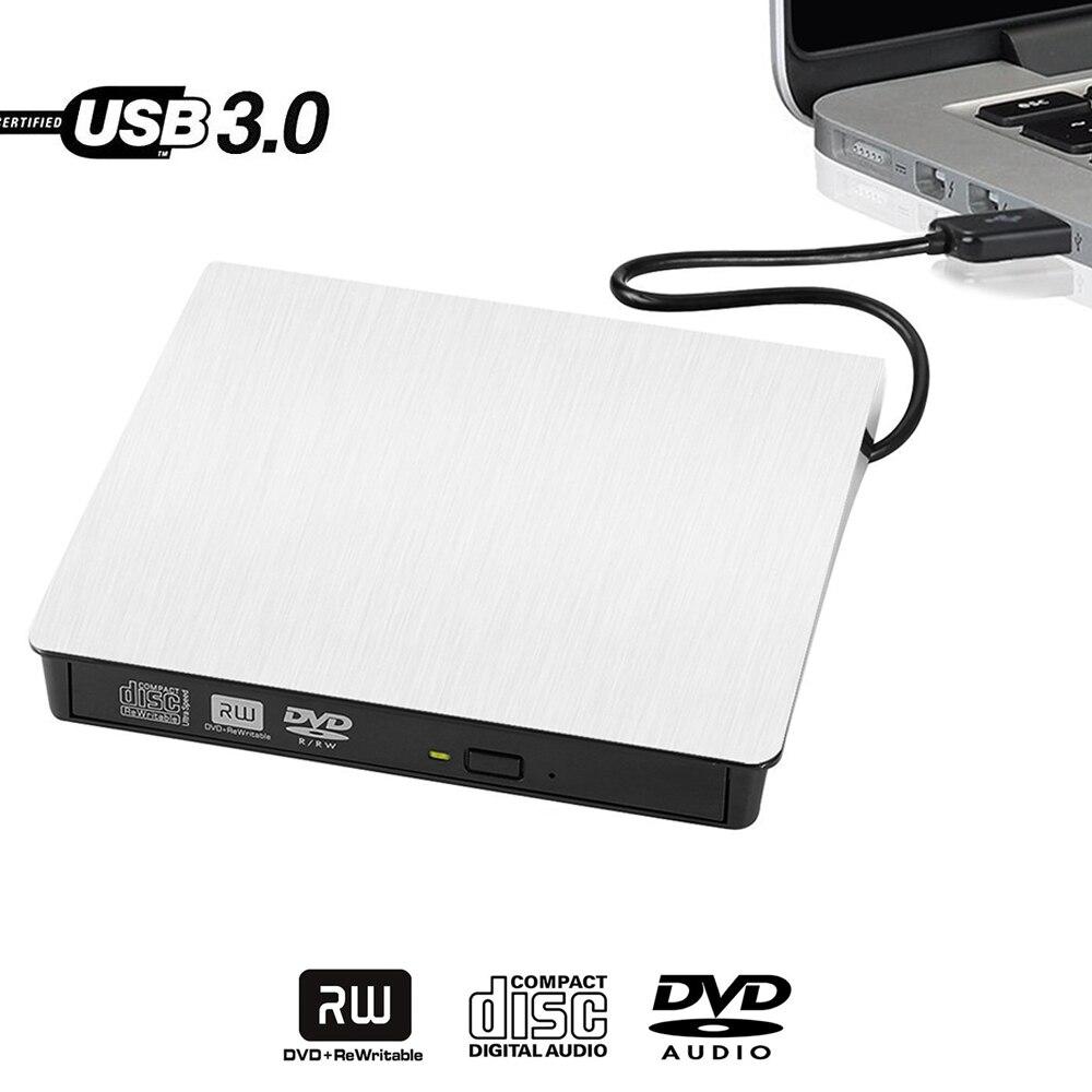 White Slim External USB 3.0 DVD RW CD Writer Drive Burner Reader Player For HP Dell Laptop desktop notebook PC Win XP/7/8/10