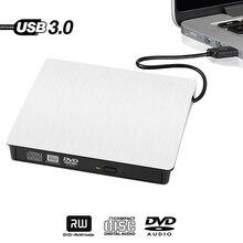 White Slim External USB 3.0 DVD RW CD Writer Drive Burner Reader Player For HP Dell