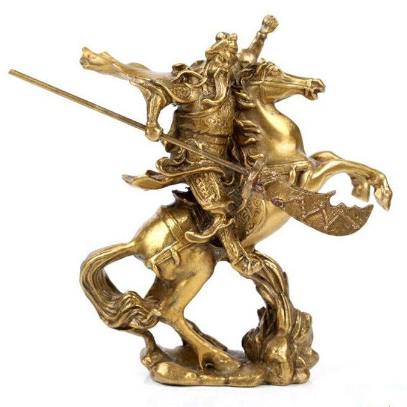 Accueil accessoires ouverture bronze statue Guan Gong équitation Feng Shui ornements maison de ville mauvais esprits chanceux décoration ZP5031405
