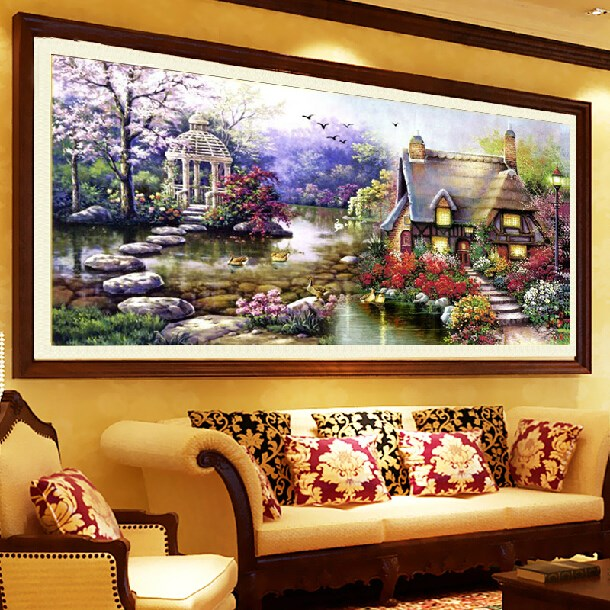 diy handmade chinese cross stitch embroidery kit garden cottage design home decoration 6540cm embroidered cloth livingroom