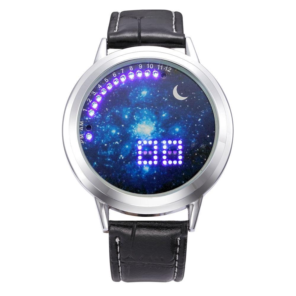 купить NEW Moon Unisex Watch Women Men Wristwatch Sky Space Watch Little Star Watch недорого