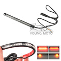 Bendable Flexible Motorcycle Universal Turn Signal Red Amber LED Tail Light Strip 32 SMD License Plate Brake Stop Lights