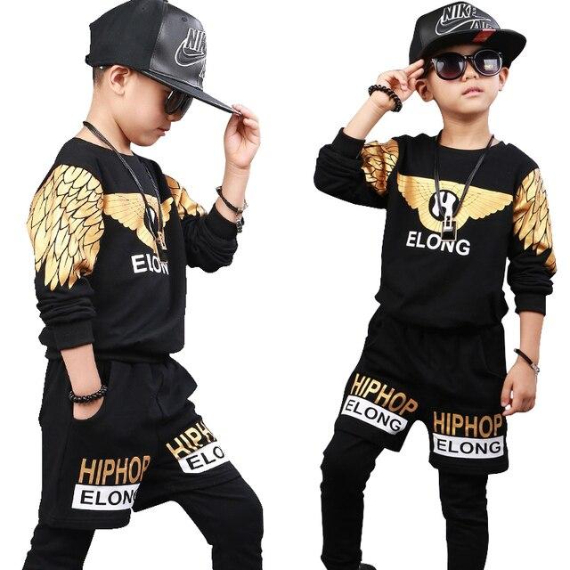 da5d184e29bd KIds Children Ballroom Print Modern Jazz Hip Hop Dance-wear Boys Dance  Costumes Top&Pants