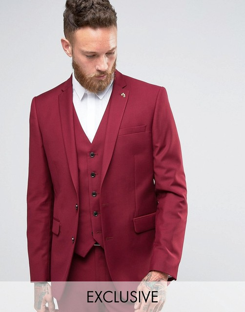 Handsome Burgundy Bridegroom Tuxedos 3 Pieces Wedding Prom Suits For ...