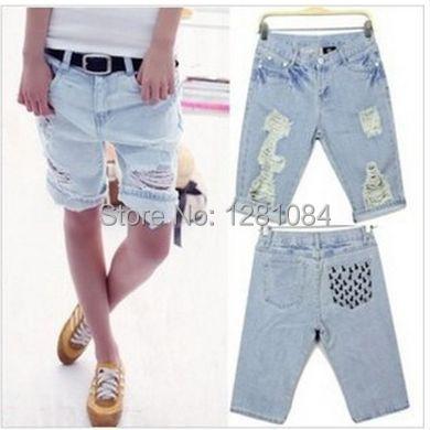 2017 женщины короткие джинсы женщина Белый ripped Джинсовые шорты женская Свободная Посадка Пляж Жан шорты 030301