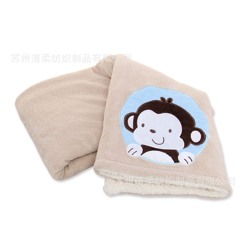 Double Layer Composite Blanket Super Soft Fabric Cartoon Stickers Embroidered Autumn And Winter 102*76cm