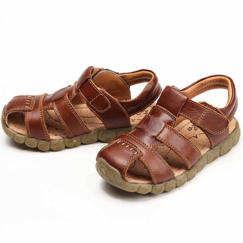 acd40976dd7d kids beach shoes 2017 summer new boys and girls 100% leather Baotou  comfortable soft bottom girl dress sandals open toe sneaker