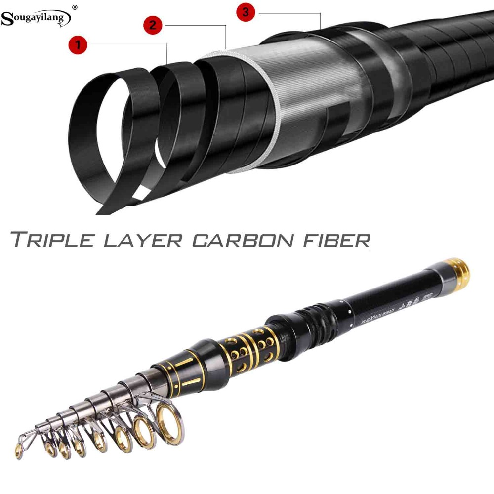 Sougayilang Telescopic Fishing Rod Carbon Retractable 1.5M-3M Spinning Rods Sea Saltwater Fishing Rod Fishing Tackle olta pesca