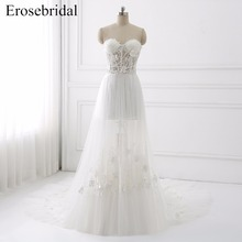 erosebridal A-Line Sleeveless Wedding Dress with Train
