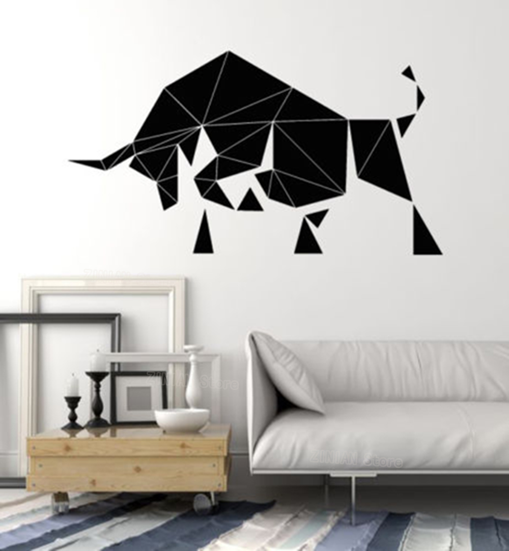 . US  7 66 28  OFF Abstract Bull Wall Decal Living Room Farm Animal Decals  Polygonal Vinyl Stickers Bedroom Decoration Removable Art Mural Z344 in  Wall