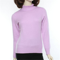 100%goat cashmere half high rufffled collar thick knit women fashion pullover sweater 3color XS 3XL retail mix bulk wholesale