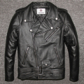 Factory 2016 New Men's Genuine Leather Motorcycle Jacket Male Cowskin Oblique zipper Punk Rock Bomber Motorcycle Biker Coats