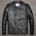 Factory 2016 New Men's Genuine Leather Motorcycle Jacket Male Cowskin Oblique zipper Punk Rock Bomber Motorcycle Biker Coats