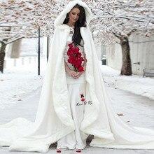 Зимний женский свадебный роскошный меховой плащ с капюшоном, длинный женский плащ, вечерние накидки на заказ