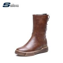 Ssalena ковбойские ботинки Для женщин Винтаж бренд Дизайн в стиле ретро на высоком каблуке зимние сапоги переносной Удобная Обувь A897