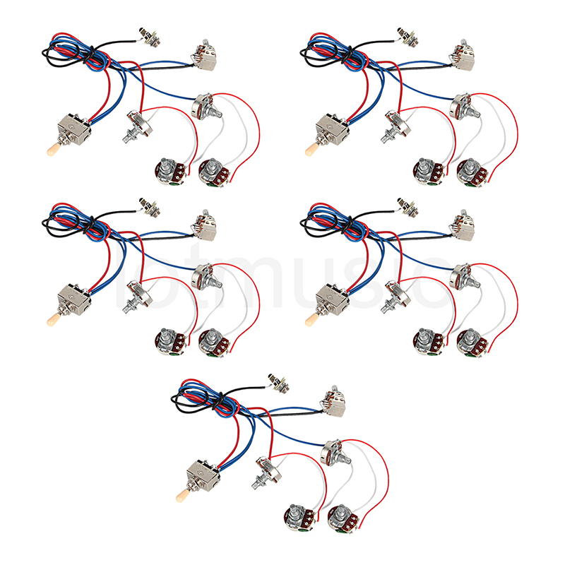 Electric Guitar Wiring Harness Kit 2V2T Pot Jack 3 Way Switch for Electric Guitar Parts Set of 5