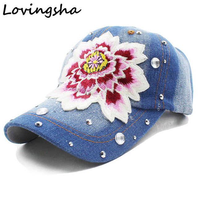 Lovingsha Floral Baseball Cap Snapback Summer Cap Spring Fitted Cap Women  Wholesale Rhinestones Cap For Girl Cheap Hat e63eb296c7f0