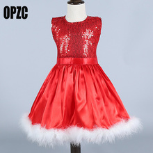 OPZC 2017 New Baby Girls Christmas Santa Dresses For Girls Cute Lace Xmas Children Costume Princess Toddlers Clothing